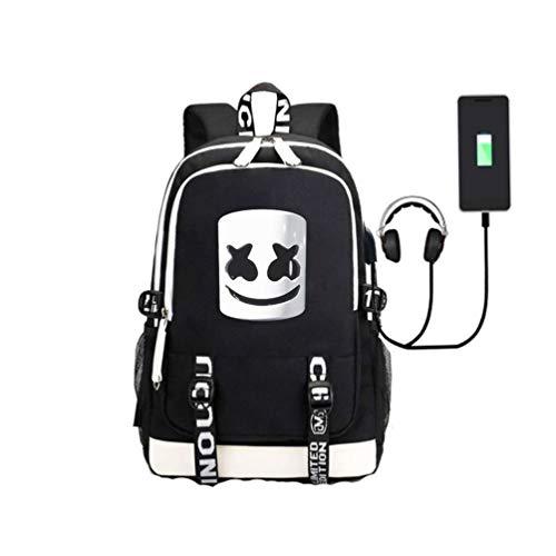 WYCY学生用バックパックMarshmello Schoolbag大容量35L(USB充電およびオーディオインターフェイス付き)男女兼用スクールブックバッグトレンドリュックサックガールズアンドボーイズ