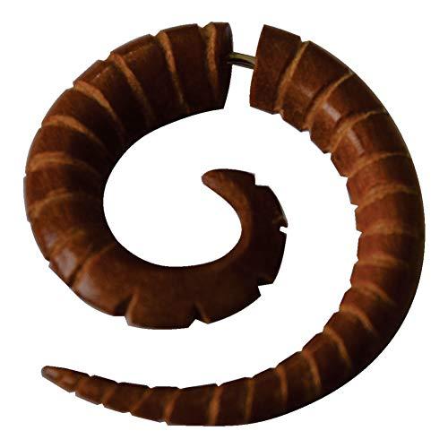 CHICNET Piercing falso dilatador para hombre y mujer, diseño de caracol en espiral de madera de palisandro en color marrón rojizo con cierre de acero inoxidable