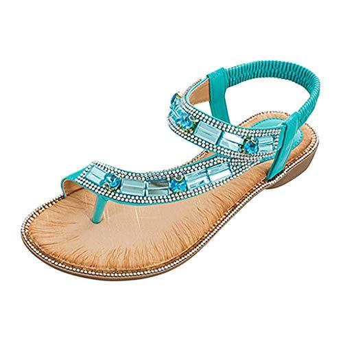 Damen Bohemian Toe Post Crystal Elastic Band Strand Sandalen römische Schuhe Offene Spitze Strand Schuhe