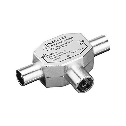 Koaxial T-Adapter (2x Koaxial-Stecker auf 1x Koaxial-Buchse) im Metallgehäuse