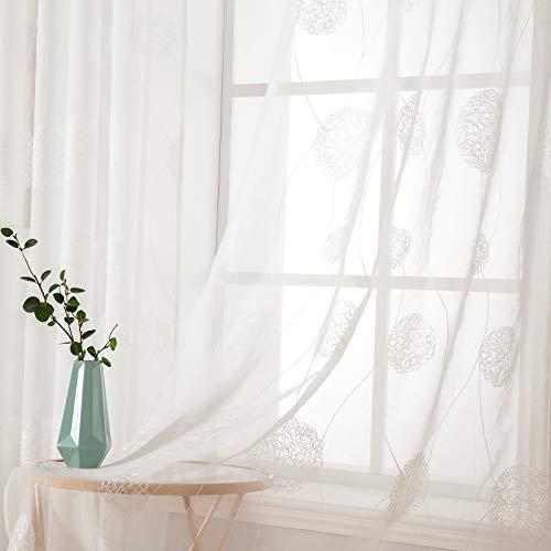 MIULEE Sheer Vorhang Voile Blumen Stickerei Vorhänge mit Ösen Transparent Gardine Ösenvorhang Gaze Schals Fensterschal für Wohnzimmer Schlafzimmer 2er Set 145 cm X 140 cm(H x B) Flora Weiß