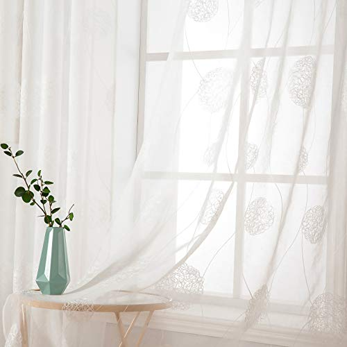 MIULEE 2 Piezas Cortinas Bordado Translucida de Dormitorio Moderno Ventana Visillos Rayas Salon Paneles con Ojales Plateados para Sala Cuarto Comedor Salon Cocina Habitación 140x175cm Hortensia Blanca