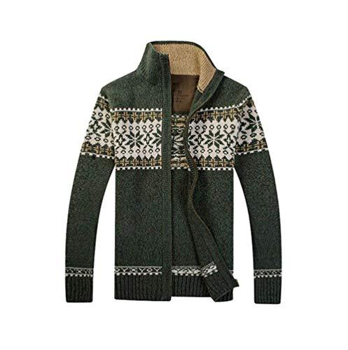 Nvfshreu Cardigan Heren Geometrische Gebreide Print Gebreide Jas Vest Trui Eenvoudige Stijl Clásico met Warm Knitwear Herfst Winter