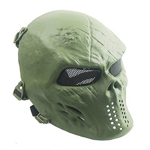 Sensong Airsoft Maske mit Metallgitter Augenschutz Halloween Skull Schutzmaske Taktische Full Face fur Paintball Softair CS Partyspiel Grün