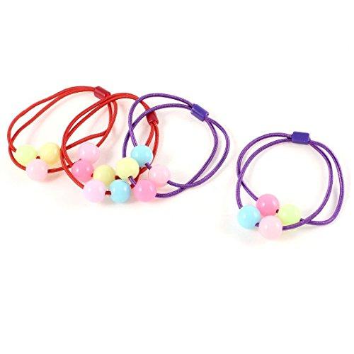 2 pares de bolas de plástico de colores Decoración elástico Ponytail Holder...