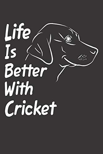Life Is Better With Cricket: Blank Dotted Female Dog Name Personalized & Customized Labrador Notebook Journal for Women, Men & Kids. Chocolate, Yellow ... & Christmas Gift for Dog Lover & Owner.
