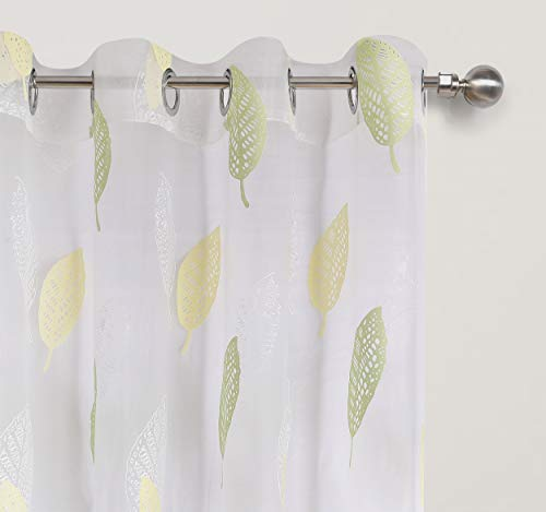 Green Leaf Pattern Burnout Sheer Curtains for Bedroom White Transparent Voile with Full Lovely Cute Leaves Thin and Soft Hot Spring Theme Eyelet / Rings Top 54 inch Wide by 63 inch Long 1 Pair