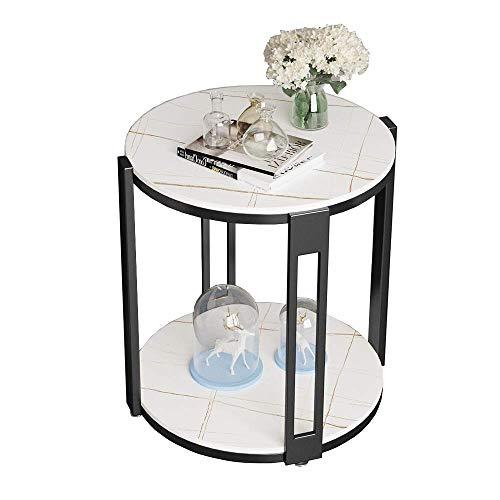 N/Z Wohnausrüstung Nordic Mini Kleiner runder Tisch 2-stufiger Schieferstein-Couchtisch Wohnzimmer Schlafzimmer Sofa Beistelltisch Nachttisch 50x55CM (Farbe: Weiß)