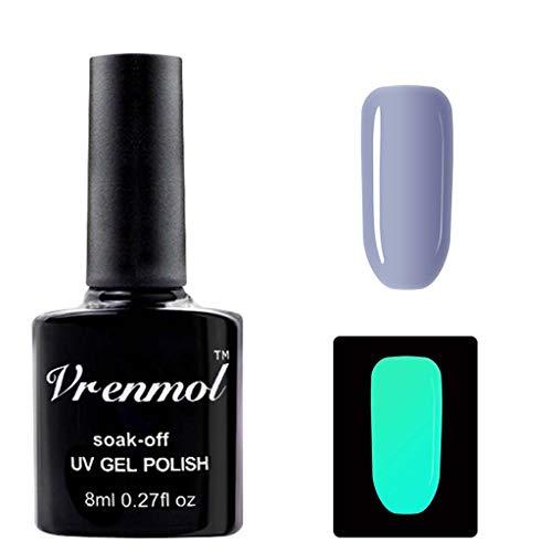 kuygdvd-UK Esmalte de uñas no tóxico 18 colores Fluorescente Neon Luminoso Esmalte de uñas de gel para brillar en la oscuridad para mujeres niños 8 ml (D)