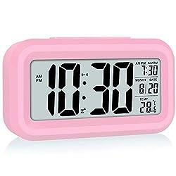 WulaWindy Led Display Digital Alarm Clock Battery Operated Smart Night Light Easy Operation Clock for Kids Heavy Sleepers Bedroom Clock Pink