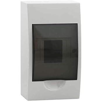 Caja de protección de distribución de energía de la cubierta transparente de plástico para el interruptor de circuito de 3 a 4 vías de interior en la pared: Amazon.es: Bricolaje y herramientas