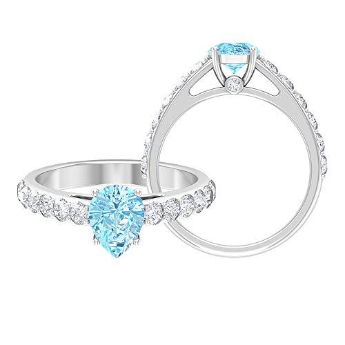 Anillo de lágrima, anillo de acento moissanita, anillo de compromiso solitario 14K Oro blanco