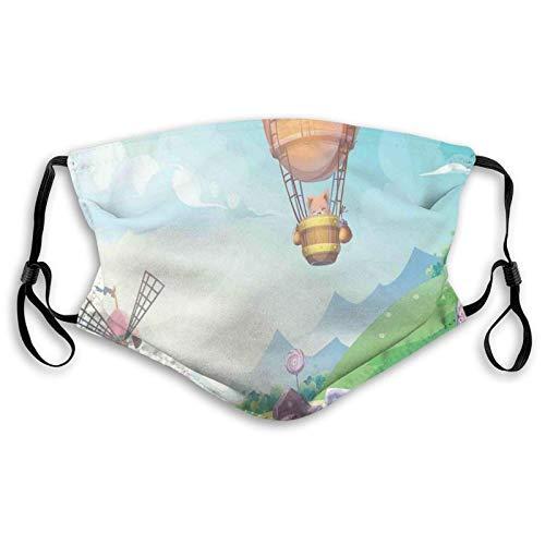 Pastellfärg godishus virvel klubba och varmluftsballong med krämig glasyr ansikte M-A-S-K tvättbar bandana för vuxna män kvinnor
