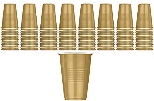 DecorRack 80 Party Cups, 16 oz Plastic Soda Cups, Perfect for Birthday, Picnic, Indoor and Outdoor Event, Stackable, Reusable, Disposable Round Beverage Drinking Cup, Gold (Pack of 80)