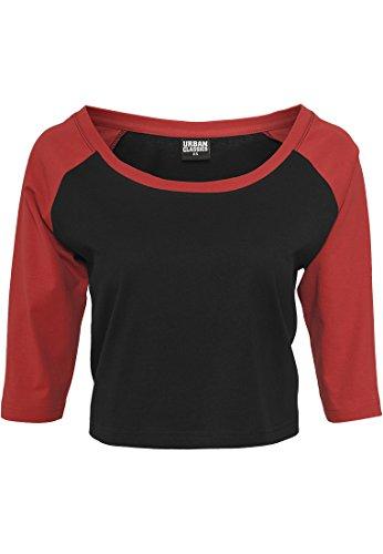 Urban Classics Cropped 3/4 Raglan Camiseta, Multicolor (Blk/Red 00044), L para Mujer