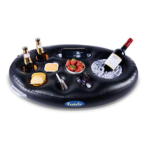 FEEBRIA Inflatable Floating Drink Holder with 9 Holes Large Capacity Drink...