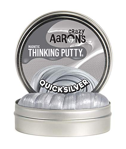 """Crazy Aaron's Thinking Putty 4"""" Tin (3.2 oz) Quicksilver - Magnetic Putty - Magnet Included - Never Dries Out"""