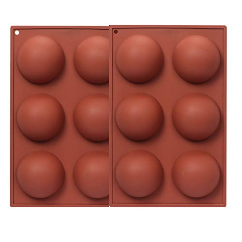 FYY 2 pièces Moules à bonbons et chocolat silicone à 6 trous en forme de demi-sphère, pour chocolats, gâteaux, gelée, pudding, fondants en silicone antiadhésif pour la cuisson de au chocolat