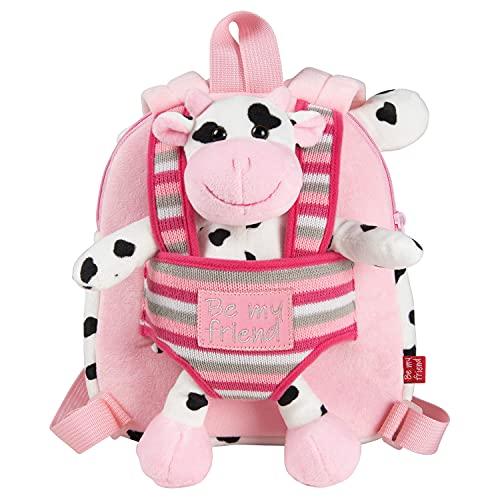 PERLETTI Mochila Infantil Pequeña de Vaca de Peluche - Bolso para Niños Niñas 3 4 5 Años con Muñeco Extraíble para Escuela Guarderia Viaje - Bolsa Escolar Reversible - 22x25x3 cm (Vaca)