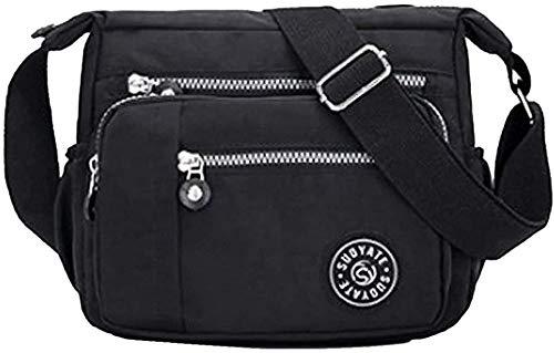 HGA Umhängetasche Für Frauen Multi Pocket Casual Umhängetasche Reisetasche Messenger Handtasche Zum Einkaufen Wandern Täglicher Gebrauch,Black3