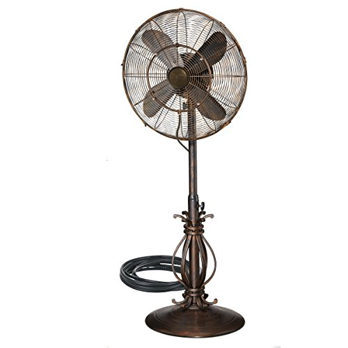 Outdoor Oscillating Fan with Misting Kit - 3 Cooling Speeds with High RPM - 40' to 51' Adjustable Height - Art Deco Floor Fan with Weighted Base and All-Weather UV Paint for Outdoor Use (Scrolls)