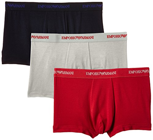 Emporio Armani Herren 111357 Boxershorts, Mehrfarbig (gris Clair/Rouge/Marine), X-Large (Herstellergröße: XL)