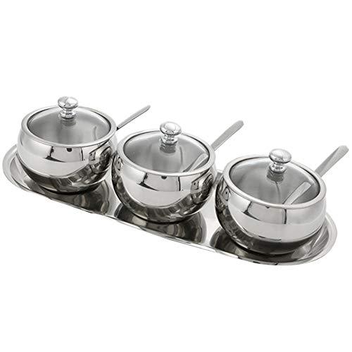 TSHG Acciaio Inossidabile condimento Jar, 3 Set di umidità e Muffa Prova Coperchio Spice Box con Vetro Box Spoon, Non arrugginisce, Adatto alla conservazione di spezie e condimenti in casa Kitchen,A