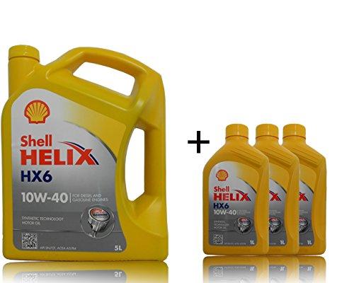 1 x 5 + 3 x 1 liter Shell Helix HX6 10W-40 motorolie.