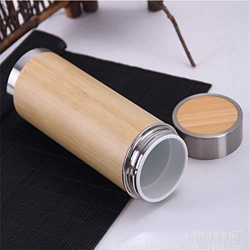 WXX Botella Creativo de bambú Termo de Acero Inoxidable Frasco de vacío, la vesícula biliar Interno: Cerámica (280 ml) (Color : 280ml)