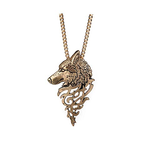 Qiuday Damen-Kette Wolf Kopfform Legierung Anhänger Modeschmuck Geschenk Halskette Vatertags-Halskette Herren Anhänger Edelstahl Halskette