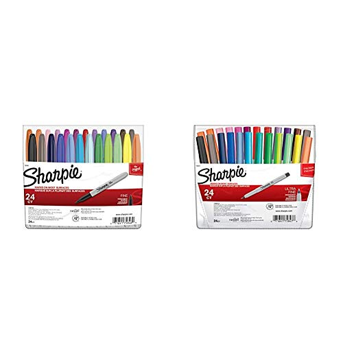 Sharpie 75846 Permanent Markers, Fine Point, Assorted Colors, 24-Count & 75847 Permanent Markers, Ultra Fine Point, Assorted Colors, 24-Count