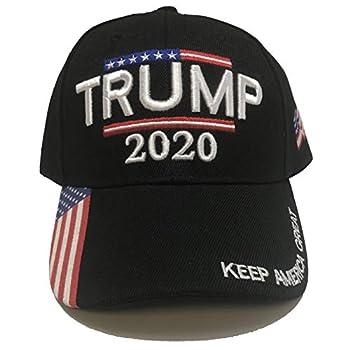 Trump 2020 Hat - Keep America Great 3D Embroidery American Flag Donald Trump MAGA Baseball Cap - Black