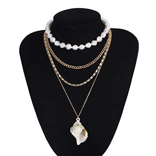 Xynhed Choker, meerdere lagen, witte imitatieparel, met schelpvormige schelp, brede halsketting, sieraad voor vrouwen en geschenken