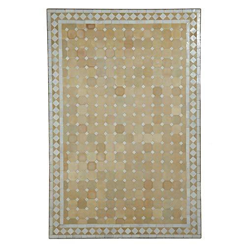 Mediterraner Gartentisch marokkanischer Mosaiktisch 120x80 cm rechteckig weiß terrakotta mit Gestell H 73 cm 👍 Kunsthandwerk aus Marokko 👍 Dekorativer Balkontisch Bistrotisch Beistelltisch | MT2118
