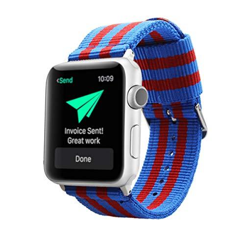 Estuyoya - Pulsera de Nailon Compatible con Apple Watch Colores del Barcelona, Ajustable Reemplazo Estilo Deportiva Elegante para 42mm 44mm Series 6/5 / 4/3 / 2/1 / SE/Nike+ - Plata
