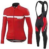 YouthRM Jersey de Ciclismo Transpirable y de Secado Rápido Conjunto de Hombre Ropa de Descenso Ropa de Ciclismo de Manga Larga,Red,XL