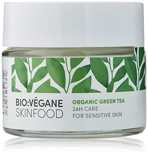 BIO:VÉGANE SKINFOOD Bio Grüntee - 24h Pflege für empfindliche Haut, vegan, NATRUE-zertifiziert, Naturkosmetik für sensible Haut, 1er Pack (1 x 50 ml)