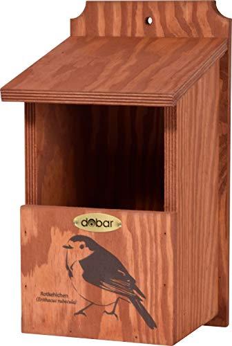 dobar Nistkasten mit Siebdruckmotiv Rotkehlchen, Vogelhaus für Halbhöhlenbrüter, 17 x 18 x 32 cm, Kiefer, braun, 22366FSCe