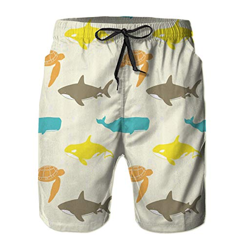 Badehose für Herren,Muster mit Walhai und Schildkröte Aquarium Doodle Style Marine Life,Schnelltrocknend Sommer Badeshorts Surfen Strandhose 3XL