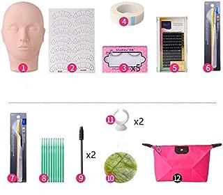 Eyelashes Training Kit, Professional One Training Head Model False Eyelashes Extension Practice Kit Tool For Starter to Practice (12Pcs/Set)