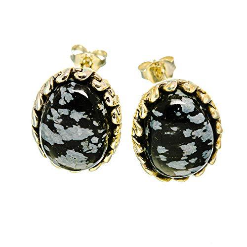 Ana Silver Co Snowflake Obsidian Earrings 3/4' (925 Sterling Silver)