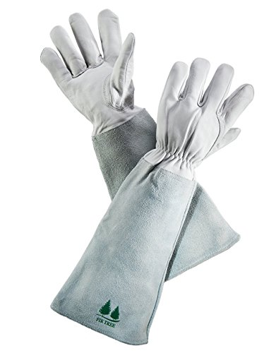 Leather Gardening Gloves by Fir Tree. Premium Goatskin Gloves With Cowhide Suede Gauntlet...