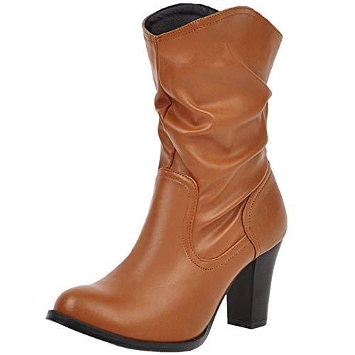 ELEEMEE Damen Mode Blockabsatz Slouch Stiefel Pull on Knöchel High Stiefel Brown Gr 48 Asiatisch