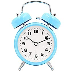 TXL 3.5 Twin Bell Alarm Clock Kids, Battery Operated with Nightlight, Handheld Sized, Non-Ticking Silent Metal Alarm Clocks for Bedrooms,Heavy Sleepers Bedside Analog Loud Alarm Clock,Blue