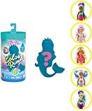 Barbie Color Reveal mini-poupée Chelsea avec 6 éléments mystère, thème Sirènes, 3 sachets surprise, modèle aléatoire, jouet pour enfant, GTP53