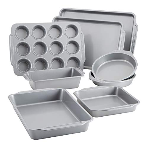 Farberware Nonstick Bakeware Set Includes Cookie Sheets/Baking Cake Muffin and Bread Pan, 8 Piece, Gray