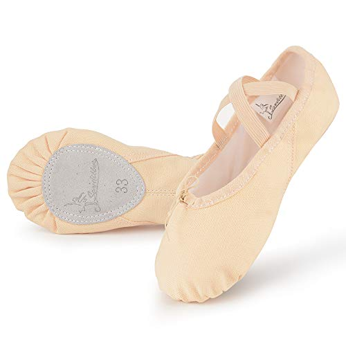 Soudittur Ballet Shoes Girls Dance Slippers Canvas Gymnastic Yoga Shoes Split Sole Canvas Flat for Kids and Adult Size 5.5 UK, Ballet Pink