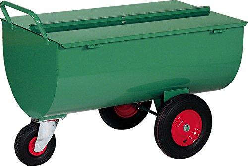 Schwarz Transportgeräte Handtransportgeräte, Mastfreund Futterwagen mit Deckel 500 L, Räder Luftgummi, ral 6000 patinagrün, 135 x 90.5 x 90.5 cm, 1031215