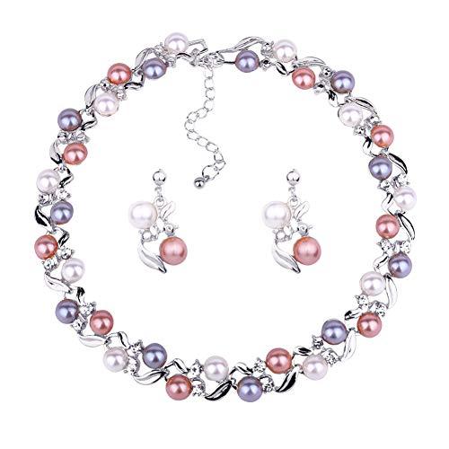 GREENLANS - Juego de joyas de moda, elegante collar de perlas de imitación de diamantes de imitación para cumpleaños, Navidad, San Valentín, decoración de regalo blanco K