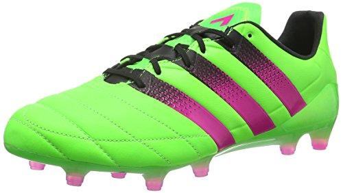 adidas Herren ACE 16.1 FG/AG Leather Fußballschuhe, Grün (Solar Green/Shock Pink/Core Black), 40 2/3